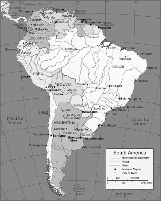 image: Grayscale South America Map