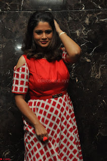 Shilpa Chakravarthy looks super cute in Red Frock style Dress 020.JPG