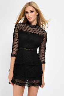 I Saw It First Black High Neck Crochet Mini Dress