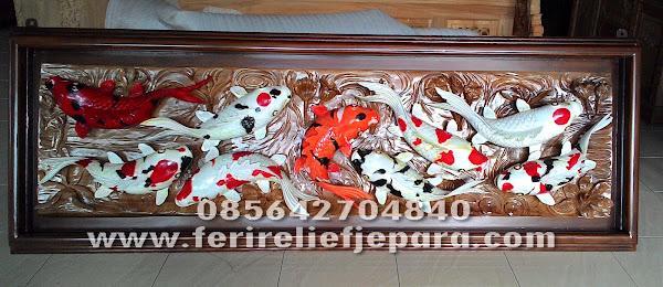 ukir relief ikan koi 3 dimensi kayu jati