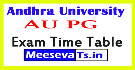 Andhra University PG Exam Time Table