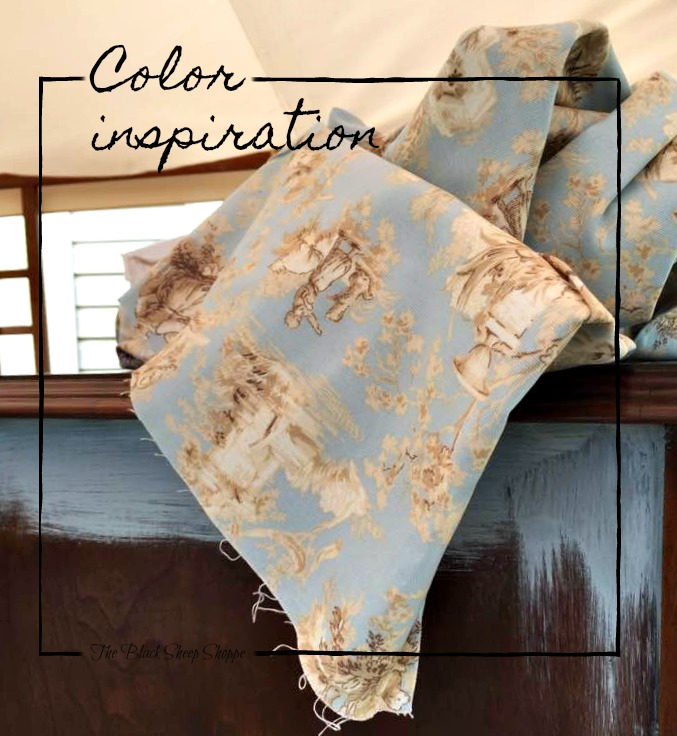 The toile fabric is my color inspiration for the armoire.