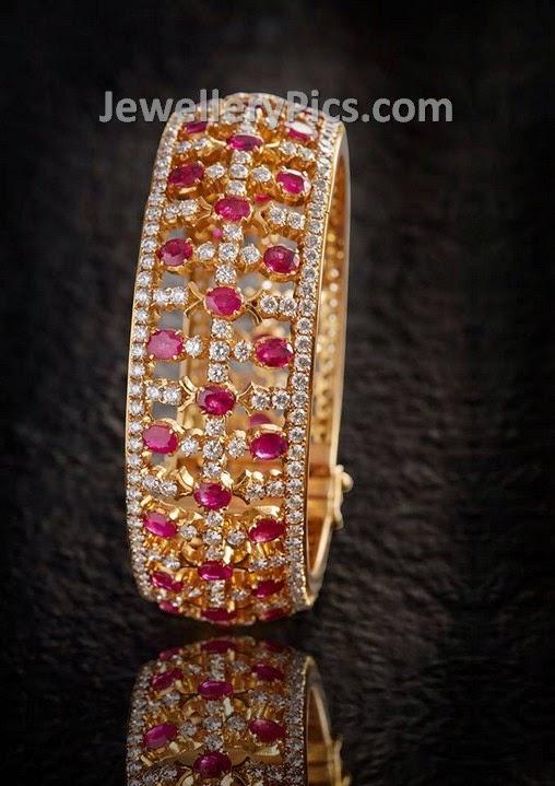 Elegant Diamond Bangle With Rubies Neatly Aligned Latest