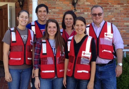 Counseling faculty and students volunteer with red Cross