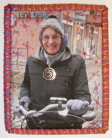 Robin Atkins, Travel Diary quilt, detail, with electric bicycle, NL