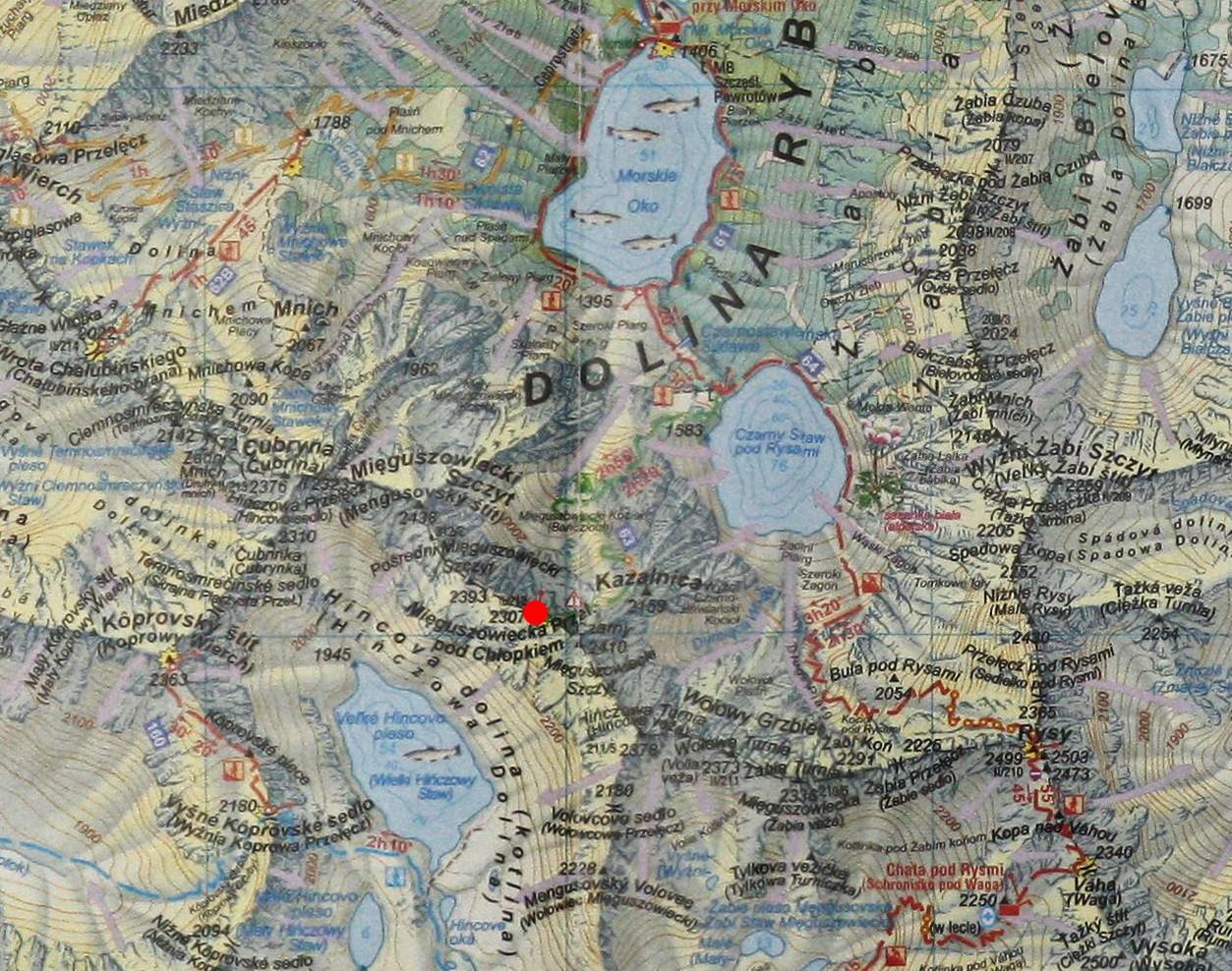 Mięguszowiecka Przełęcz pod Chłopkiem na mapie