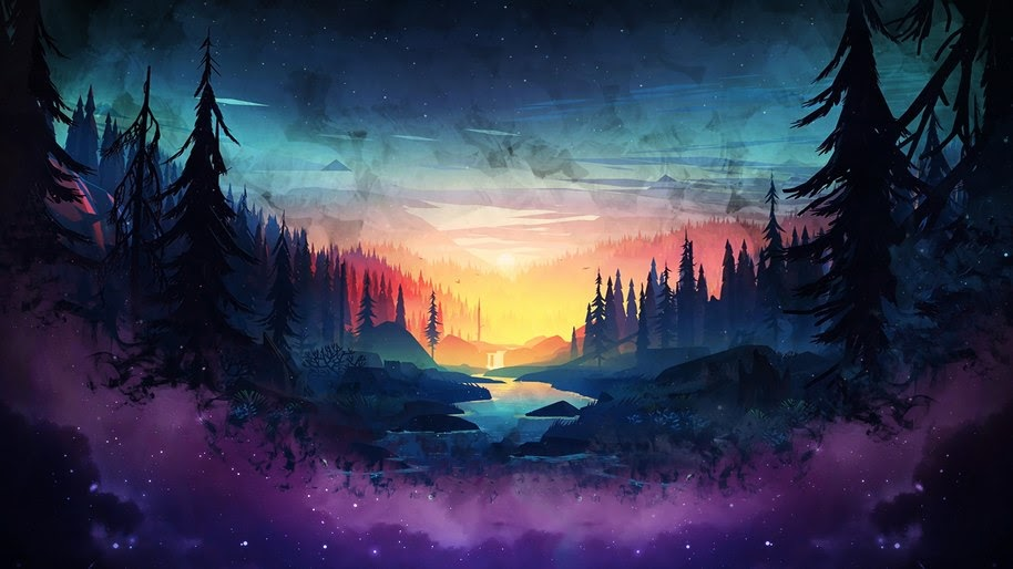 Sunset, Forest, River, Night, Sky, Scenery, Digital Art, 4K, #96