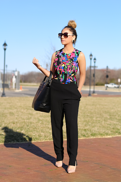 Black and Floral cutout Jumpsuit