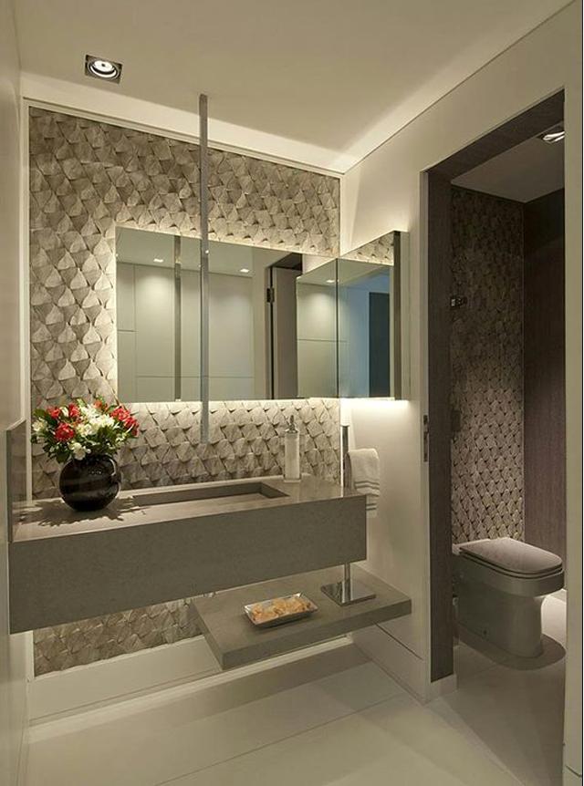 Decor Salteado  Blog de Decoração e Arquitetura  Lavabos com bancada da pia -> Como Colocar Pia De Banheiro Na Parede