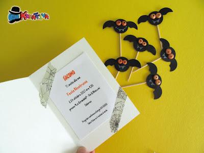 interno invito di halloween e pipistrelli per muffin