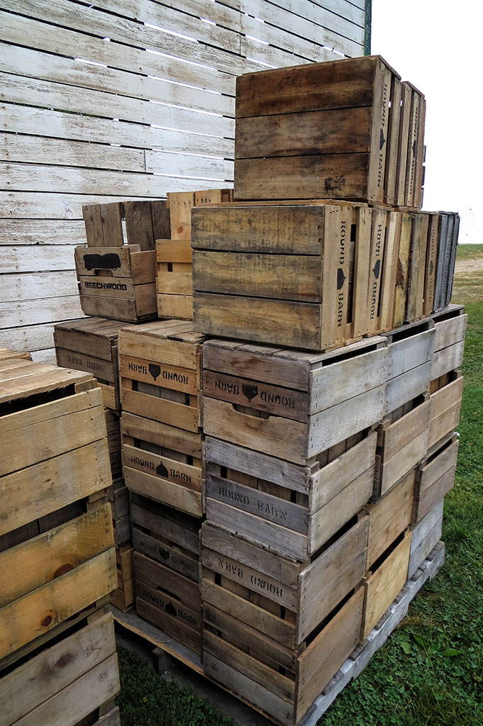 Apple crates at the Historic Round Barn