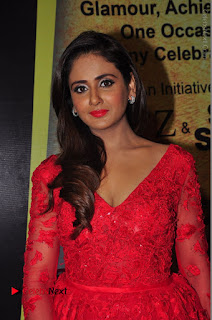 Actress Model Parul Yadav Stills in Red Long Dress at South Scope Lifestyle Awards 2016 Red Carpet  0068.JPG
