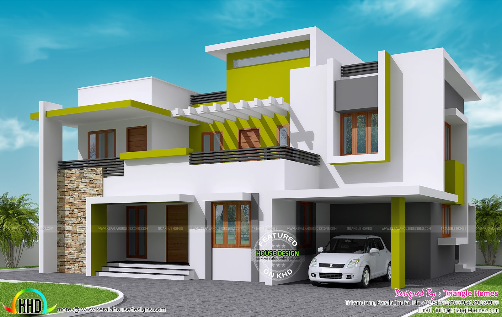 232 sq m contemporary house kerala home design and floor for Kerala model house photos with details