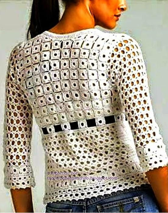 Hermosa blusa crochet mangas medianas