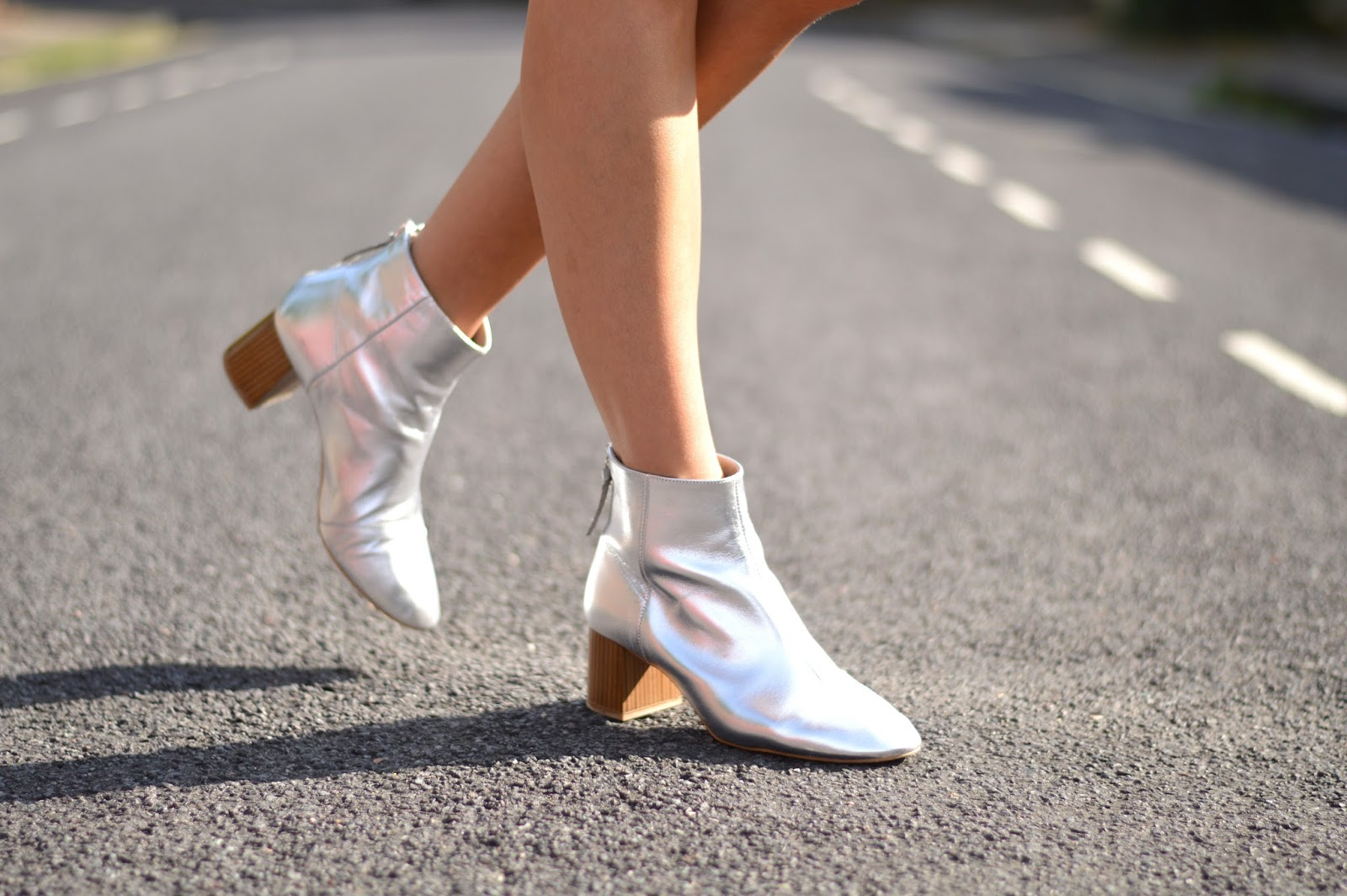 Those Office Jazz Hands silver ankle boots that I always wanted