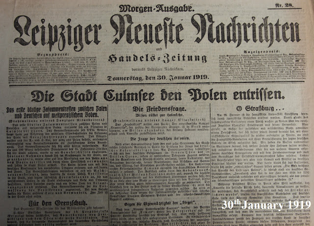 scan from newspaper, Leipzig, 1919 January 30th