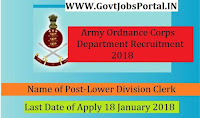 Army Ordnance Corps Recruitment 2018– 818 Lower Division Clerk, Tradesman Mate