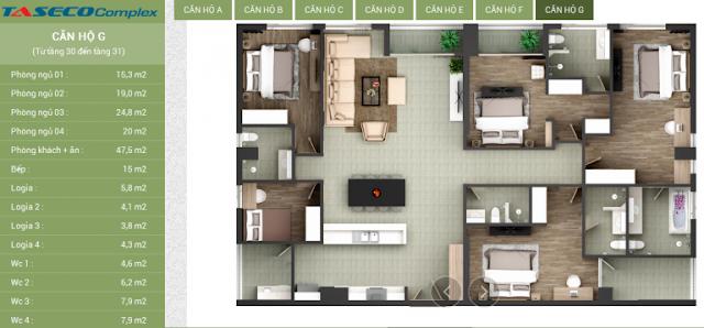 Thiết kế căn hộ G Taseco Complex