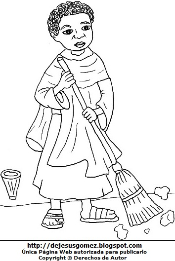 Dibujo de San Martín de Porres barriendo con la escoba para colorear pintar imprimir. Dibujo de San Martín de Porres de Jesus Gómez
