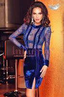 Rochie de seara albastra dantela si catifea (Atmosphere)