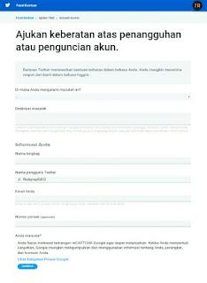 Form pusat bantuan pengajuan keberatan atas penangguhan akun Twitter