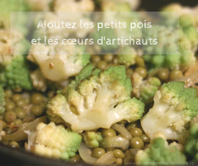 recette vegan végétale ajouter petits pois et cœurs d'artichauts