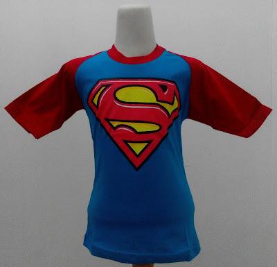 Kaos Raglan Anak Karakter Superman 3 Biru Tosca Tua
