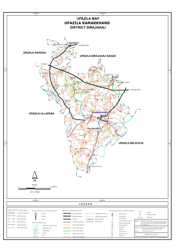 Kamarkhand Upazila Map Sirajganj District Bangladesh
