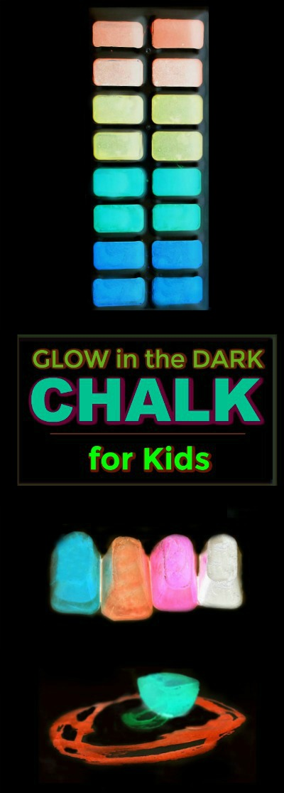 SUPER KID FUN: Make chalk that glows-in-the-dark! (only 3 ingredients!) #playrecipesforkids #playrecipes  #glowinthedark #kidscrafts #sidewalkchalk #craftsforkids #activitiesforkids #chalkrecipesidewalk #chalkrecipediy #chalkrecipeart #glowinthedarkactivities #glowinthedarkcrafts
