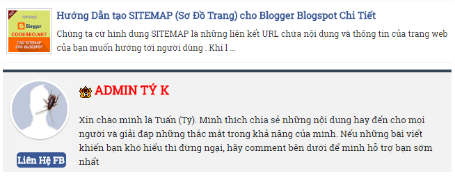 Share CODE Tác Giả (Author Box) Đẹp Đơn Giản cho Blogspot Blogger
