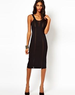 mesh panel black dress