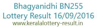 Bhagyanidhi BN255, Lottery result, 16-9-2016 Kerala Lottery result, Bhagyanidhi result BN 255, Todays bhagyanidhi BN-255 lottery