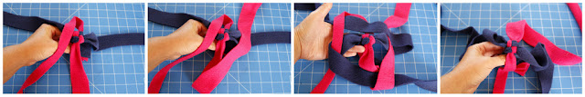 DIY homemade fleece dog tug toys - creating a spiral by weaving corner-to-corner (circle twist)