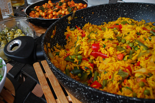 Spanish food - vegetable paella - vegan gluten-free