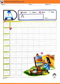 Alphabet  A tracing worksheet