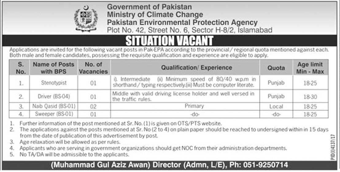 Jobs In Ministry Of Climate Change Govt Of Pakistan Islamabad February 2018 - Nawai Waqt Newspaper