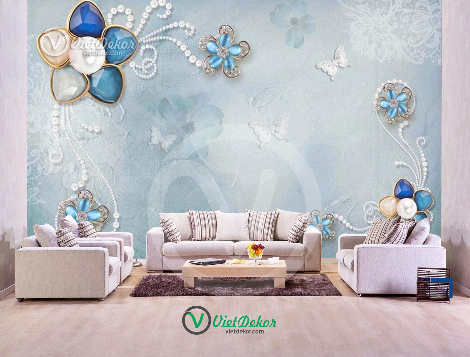 Tranh 3d dán tường hoa ngọc trai trang sức