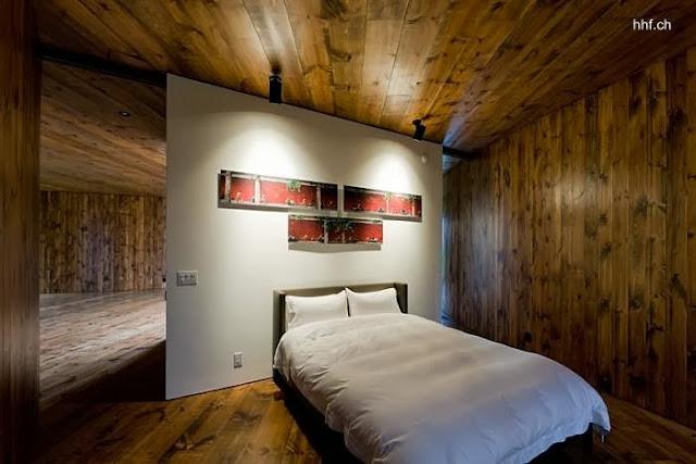Dormitorio de casa de huéspedes de diseño vanguardista