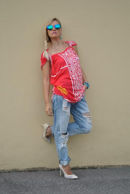 outfit jeans boyfriend strappati come abbinare i jeans boyfriend strappati boyfriend ripped jeans outfit how to wear boyfriend ripped jeans outfit giugno 2017  outfit estivi summer outfits june outfits fashion blogger italiane mariafelicia magno
