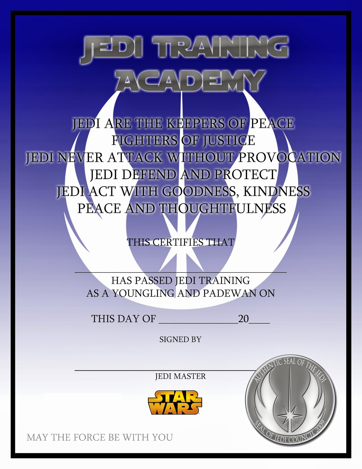 Lovely things star wars jedi training certificate free for Star wars jedi certificate template free