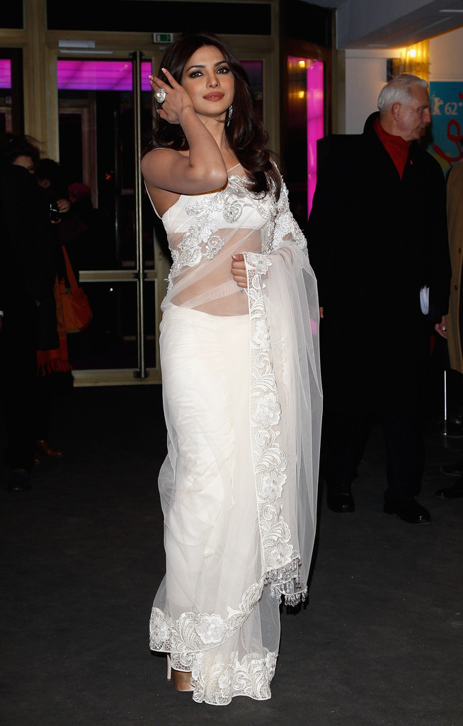 Indian Actress Priyanka Chopra Photos in Transparent White Dress