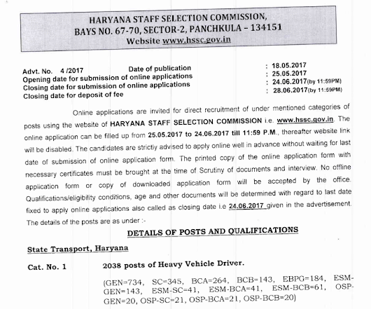 Haryana Recruitment 2038 Heavy Vehicle Driver and 930 Conductor