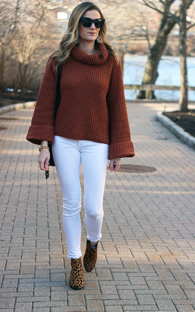 turtleneck knit sweater for women #springsweater #waffleknitsweater