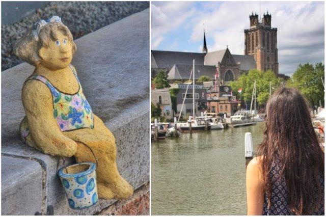 Figurita frente a canal – Canal frente a Grote Kerk en Dordrecht