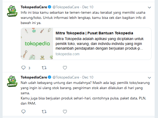 Tokopedia Care Twitter
