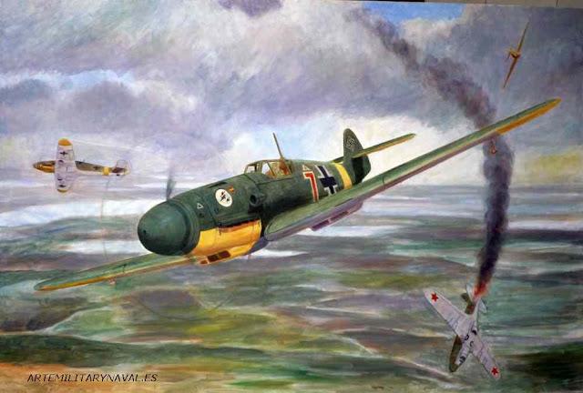 Pintura al oleo Bf-109 Escuadrilla Azul sesion 4