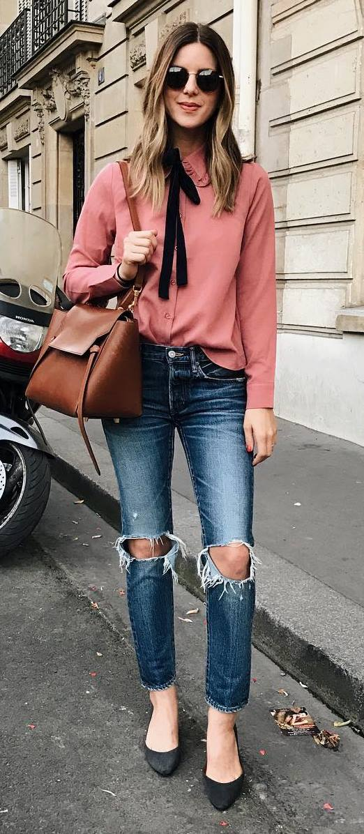 pink blouse + bag + ripped jeans