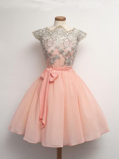 Mini Chiffon Lace Sashes ShortHomecoming Dress