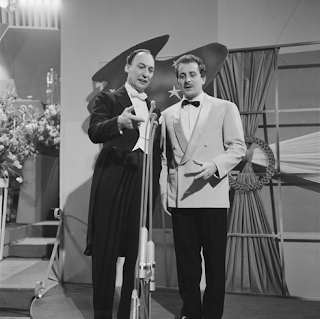 Modugno at the 1958 Eurovision Song Contest with the conductor Alberto Semprini