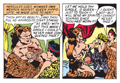"Wonder Woman (1942) #1 Page 6 Panels 4 & 5: Hercules tricks Hippolyta with his ""charms,"" stealing her magic girdle."